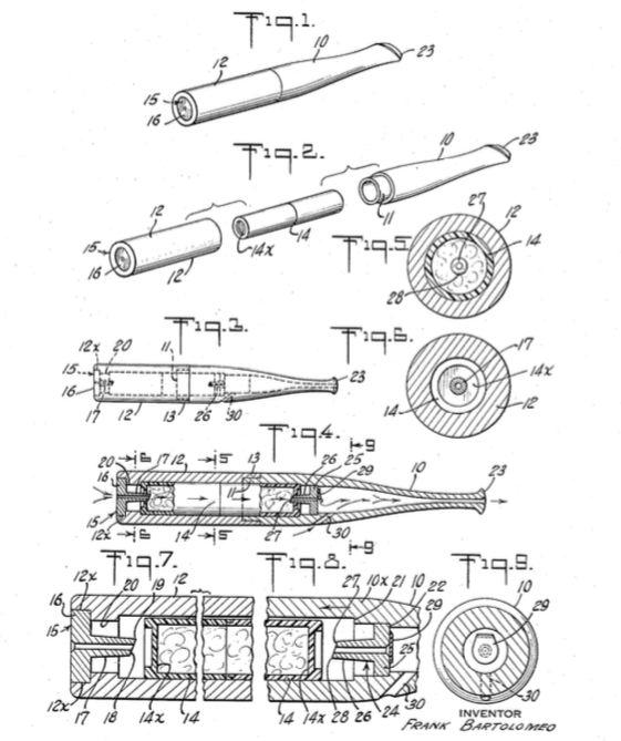 """En 1958, Bartolomeo présente un """"Smoking Device"""" avec une caspule contenant les arômes et la fumée du tabac."""