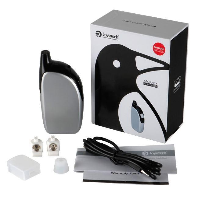 Une box, un cable USB micro, deux résistances JVIC, des caches et embouts silicones, une cartouche 8.8 ml