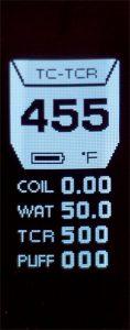 Le mode TCR permet de régler le coefficient de chauffe selon le fil utilisé dans le montage du dripper