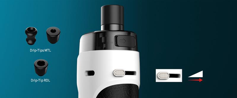 L'airflow externe se règle via un bouton glissière